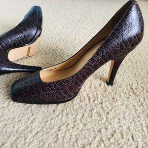 Cole Haan Nike Air brown alligator heels 8
